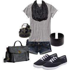 Black and different tones of gray are so easy to wear.  The Keds are so cute with this outfit and soften the look.  Casual.