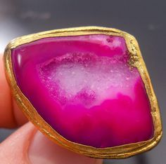 HUGE Luxe gold dipped hot pink druzy statement ring