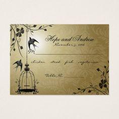 Gold Vintage Bird Cage Place Card Menu Selection
