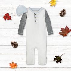 Our organic cotton henley coverall and hat set is sure to be a fall favorite! John John, Organic Baby Clothes, Baby Boy Outfits, Boy Or Girl, Organic Cotton, Autumn Fashion, Ootd, Rompers, Fall