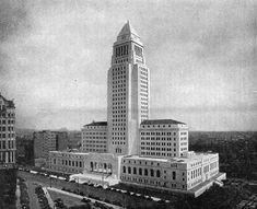 "Los Angeles City Hall shortly after its completion. The image appeared in Overland Monthly, August-September 1931 issue with the original caption ""New Los Angeles City Hall which rises 28 stories and dominates the Civic Center.\"" Courtesy of WikiMedia Commons."