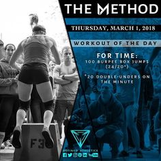 -WORKOUT OF THE DAY- March 1 2018 FOR TIME: -100 Burpee Box Jumps (24/20) Perform 20 double unders on the minute @definedathleticsmethod by @definedathletics by @skylerbradyphotos All the hashtags: #definedathletics #definedathleticsmethod #themethod #method #workoutoftheday #wod #fitness #workout #strength #gymnastics #endurance #training #gymlife #fitlife #getstrong #gym #athletes #affiliates #lifestyle #competitor #healthy Workout indexing: #taskpriority #fortime #burpeeboxjumps #burpees…