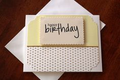 Handmade Birthday Day Card/Happy Birthday/Light Yellow with Gold Dots/Unique/One of a Kind/Free Shipping by TresorValeur on Etsy
