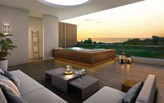 Modern Rooftop Patio Setting with Hot Tub Built In