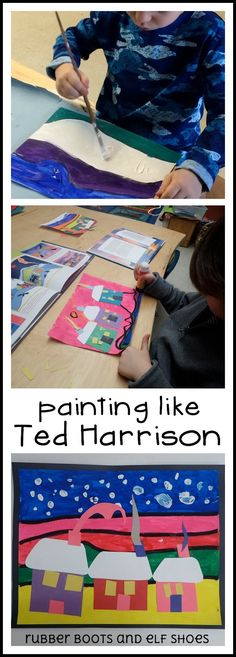 brilliant colors, strong lines and a touch of whimsy -  painting like Ted Harrison -- from rubberboots and elf shoes: