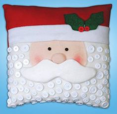 Santa Pillow Felt Applique Kit Plus Christmas Sewing, Noel Christmas, Christmas Pillow, Christmas Stockings, Christmas Cushions To Make, Santa Crafts, Christmas Projects, Felt Crafts, Holiday Crafts