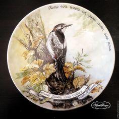 Купить Роспись фарфора Тарелка на стену Дятел - роспись фарфора, роспись по фарфору, тарелка