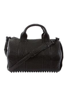 Alexander Wang black textured leather studded Rocco handbag