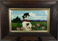 Carl Luber, framed tile, 1900, Art Nouveau maiden picking flowers, ceramic,  10.6 in. L