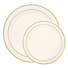 Ivory Gold Rim Plastic Dinnerware Value Set  sc 1 st  Pinterest : nice plastic plates for wedding - pezcame.com