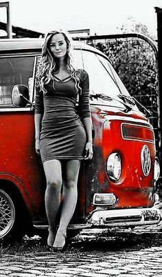 VWs and girls: Photo Volkswagen Transporter, Volkswagen Minibus, Vw T1, Trucks And Girls, Car Girls, Combi Vw T2, Vw Camping, Hot Vw, Bus Girl