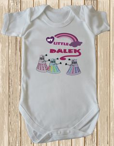 My Little Dalek Dr Who baby bodysuit  by retrostate on Etsy, £8.50