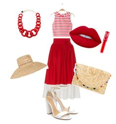 Red by marzia88 on Polyvore featuring polyvore, fashion, style, MDS Stripes, Schutz, Alisha.D, Samuji, Lime Crime and clothing