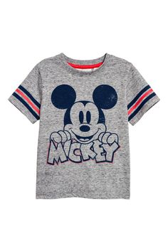 T-shirt med tryck - Gråmelerad/Musse Pigg - BARN Fashion Kids, Little Kid Fashion, Toddler Outfits, Baby Boy Outfits, Kids Outfits, Camisa Do Mickey, Simple Shirts, Cool T Shirts, Mickey Mouse Outfit