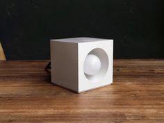 White concrete lamp. Concrete table lamp. by IndustrialRepublic