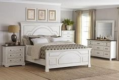 New Coaster Home Furnishings Celeste Eastern King Bedroom Set Vintage White Brown/Country Rustic/White online - Chictrendyfashion Furniture, Bedroom Panel, Distressed Bedroom Furniture, White Furniture, White Paneling, Farmhouse Style Bedrooms, King Bedroom Sets, Bedroom Set, Coaster Fine Furniture