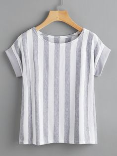 Shop Contrast Vertical Striped T-shirt online. SheIn offers Contrast Vertical Striped T-shirt & more to fit your fashionable needs. Skirt Outfits, Casual Outfits, Cute Outfits, Fashion Outfits, Sewing Blouses, Boutique Tops, Work Tops, Vertical Stripes, Blouse Dress