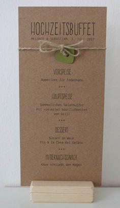 Menükarte auf Kraftpapier  gedruckt - Serie PAULINA  - wedding menu on Kraft paper