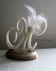 Custom Monogram Wedding Cake Topper Letter M: Ivory Pearls and White Feather for Vintage, Gatsby and Art Deco Weddings Rustic Wedding Gifts, Wedding Gifts For Guests, Wedding Cake Toppers, Wedding Cakes, Wedding Cake Pearls, Cake Lettering, Pearl Decorations, Paper Quilling Designs, Art Deco Wedding