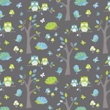 WOODLAND OWLS HEDGEHOG NUTEX KIDS NOVELTY QUILT FABRIC SOLD BY FQ **FREE OZ POST