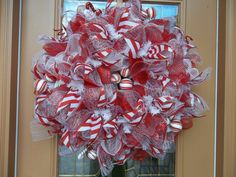 Deco Mesh Peppermint Candy Christmas Wreath