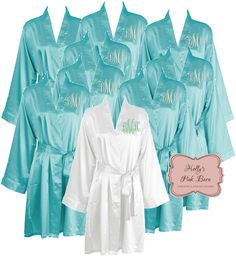 Fast Free Shipping Turquoise Satin Personalized Set of 8 SATIN Robes  Bridesmaids Robes Gift Maid of 85e8d812f