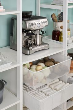 How satisfying is it when everything has a place in the kitchen? Martha's pantry storage will have you organized in style with five finishes to choose from and three mesh bins to keep fruits, veggies, or linens readily accessible. Shop your organization systems at California Closets. Organizing Your Home, Organising, Home Organization, California Closets, Pantry Storage, Dream Kitchens, Creative Home, Declutter, Your Space