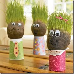 Earth Day - Grass Head Guys - like chia pet for kids.I did this for the kids in Safekey. We all had a blast making them and watching the hair grow. Kids Crafts, Projects For Kids, Art Projects, Diy And Crafts, Arts And Crafts, Classroom Projects, Garden Projects, Family Crafts, Classroom Decor