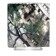 """Bennett Avenue Fire Escape Shower Curtain at http://fineartamerica.com/products/bennett-avenue-fire-escape-sarah-loft-shower-curtain.html.  This shower curtain is made from 100% polyester fabric and includes 12 holes at the top of the curtain for simple hanging.  The total dimensions of the shower curtain are 71"""" wide x 74"""" tall."""