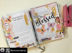 "Day 68/100 Days of Bible Promises. ""She is Blessed "" Is our new girl in the ""She is""series being released this Tuesday. I thought she was just fitting for this page to convey how I feel. I also thought a little sneak peek of her would be a fun idea. #100daysofbiblepromises #lot95designs #praiseandpray #100dayproject #biblejournal #biblejournaling #bibleartjournal #documentedfaith #illustratedfaith"