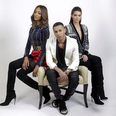 British model Jourdan Dunn (left) and American reality star Kendall Jenner (right) joined Balmain creative director Olivier Rousteing (centre) to showcase pieces from Balmain X H&M line. Fast Fashion, New Fashion, Fashion News, High Fashion, Luxury Fashion, Womens Fashion, Fashion Trends, Dope Fashion, Kendall Jenner