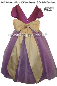 Flower Girl Dresses with layers of tulle in Thistle (plum) and Pure Gold | Pegeen