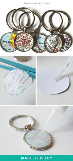 Rep your favorite cities with a DIY map keychain...such a cute DIY.