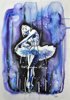 The Cage II aka The Blue Ballerina by Susanna Varis water color 2012
