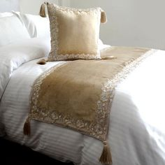 Bed Runner with Decorative Throw Pillow Cover, 53 x 18 Inch King Size Bed Scarf in Beige Velvet with Lace & Bead Embroidery - Intimate Bed Covers, Pillow Covers, Smart Bed, Restoration Hardware Bedding, Teal Bedding, Bed Scarf, Tv Beds, Gold Bed, Bed Runner