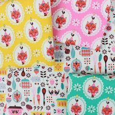 Some adorable prints perfect for some sweet little aprons! Enjoy the bright prints of Vintage Kitchen and the furry little chefs that help out! #fabric #fabricworm #modernfabric #sew #sewing #modernsewing #vintagekitchen #vintagekitchencollection #andreamuller #rileyblake #rileyblakedesigns #aprons #cooking #cat #kitty #sewcute