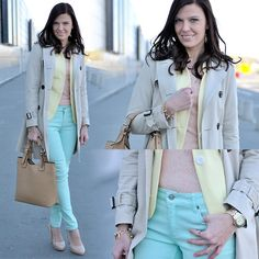 Classic trench coat and pastels (by Renata M..) http://lookbook.nu/look/3315077-Classic-trench-coat-and-pastels