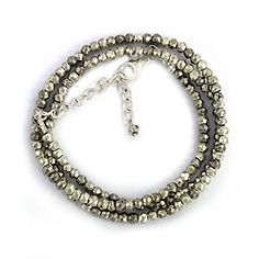 3-5 Mm Golden Pyrite Gemstone Beads, 925 Sterling Silver Adjustable Size Beads Necklace * See this great product by click affiliate link Amazon.com