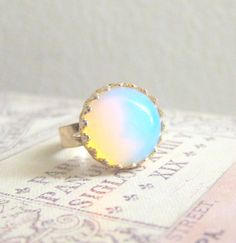 Moonstone Ring Opal Gem Stone Ring White Translucent Milky Cloudy Winter Snow Modern Simple Classic Classy Minimal Precious Stone Jewelry