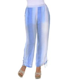 Look at this #zulilyfind! Blue Ombre Stripe Linen Capri Pants - Women & Plus #zulilyfinds