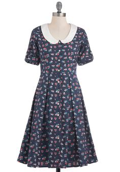County Fair-Trade Dress by Mata Traders - Long, Blue, Polka Dots, Floral, Buttons, Peter Pan Collar, Pleats, Casual, A-line, Red, White, Vintage Inspired, 60s, Short Sleeves, Fall