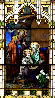 Saint Anne, Joachim and Mary Scene showing Saint Anne teaching Mary under… Stained Glass Church, Stained Glass Art, Stained Glass Windows, Catholic Art, Catholic Saints, Religious Art, Roman Catholic, Holy Mary, St Patrick's Basilica