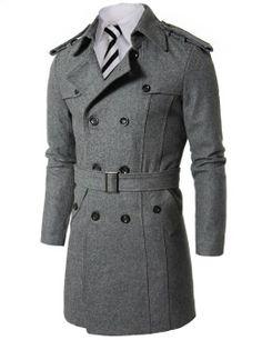 Doublju Mens Wool Coat with Belt