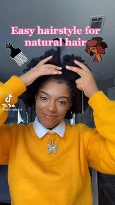 Baddie Hairstyles, Box Braids Hairstyles, Cute Hairstyles, Easy Black Girl Hairstyles, Girl Short Hair, Natural Hair Updo, Natural Hair Styles, Curly Afro, Aesthetic Hair