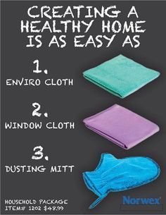 Creating a Healthy Home is as easy as 1-2-3 with Norwex #healthy #home #clean www.suziperryman.norwexbiz.com.au