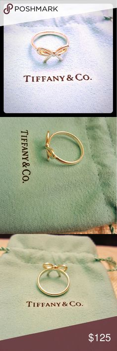 Size 6 Tiffany & Co. Bow ring, Sterling Silver This is the authentic Tiffany & Co. Bow Ring from their classic Bow collection in a size 6. Today (7.16.16) it has been polished at Tiffany's at their 5th Avenue and 59th st location, and is good as new! Barely worn and will ship in the pouch it was initially bought in. Tiffany & Co. Jewelry Rings