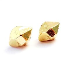 brass jewelry, love these nugget stud earrings | Therese Kuempel | Chicago, Illinois  made in america | made in usa | american made
