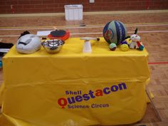 sport show table set up - Questacon outreach Table Set Up, Table Settings, Tours, Science, Sports, Hs Sports, Table Top Decorations, Sport, Place Settings
