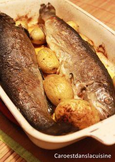 Truites fario et pommes de terre au four