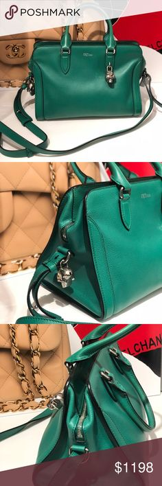 Alexander McQueen Skull Padlock Green Satchel Beautiful grained leather satchel, with silver tone hardware, optional shoulder strap, dual rolled handles, natural canvas lining, dual pockets at interior walls, one with zip closure, and zip closure at top.  Please look at pics for details.  We ship within 1 business day.  All items are authenticated before they are put online or in store Alexander McQueen Bags Satchels